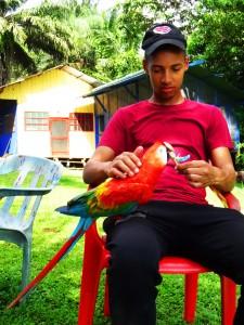 Jerome beim Füttern des Papageies