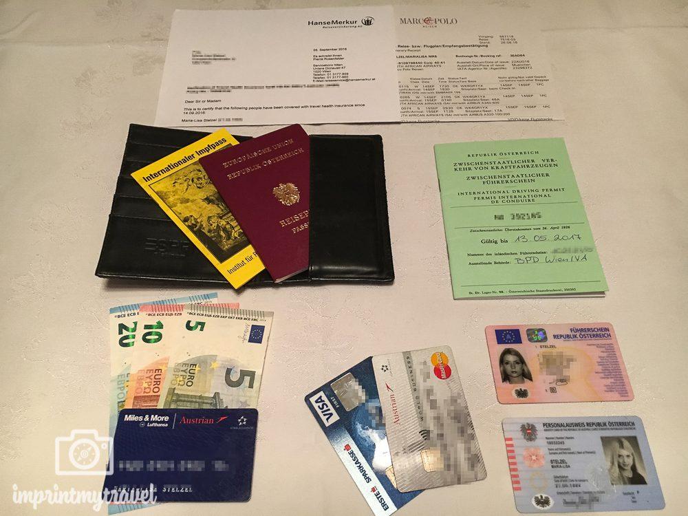 Reiseliste Dokumente & Geld