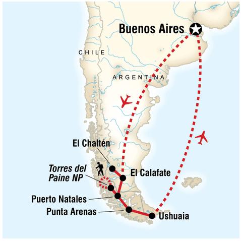 Patagonien Rundreise: Die Route
