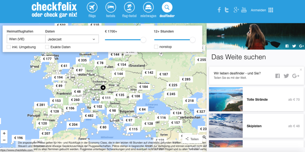 Reisen buchen: Checkfelix Dealfinder