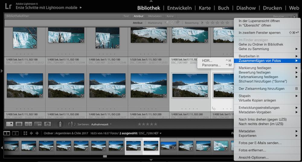 Panoramabilder in Lightroom erstellen