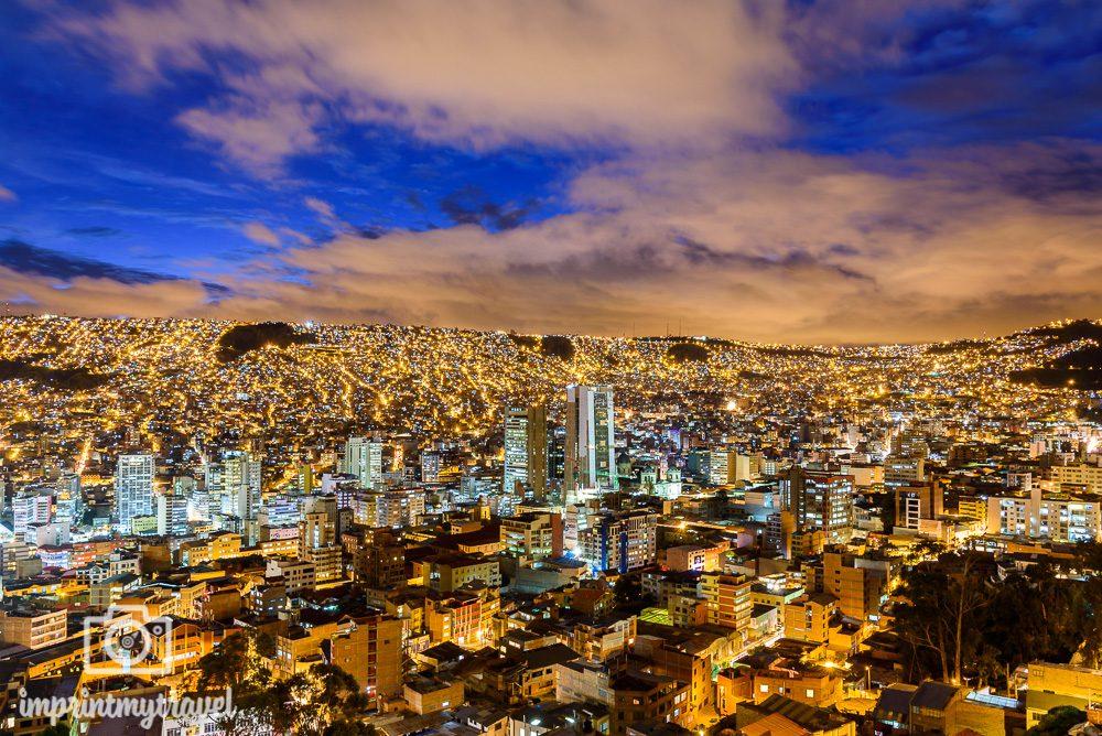 Bolivien Bilder La Paz Nachtaufnahme