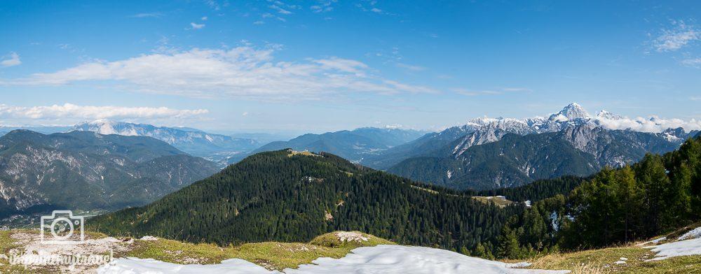 Ausflugsziel Dreiländereck Monte Lussari Panorama