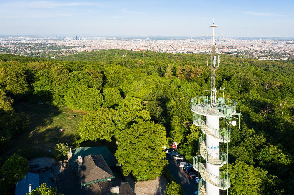 Luftaufnahme von Wien Jubiläumswarte