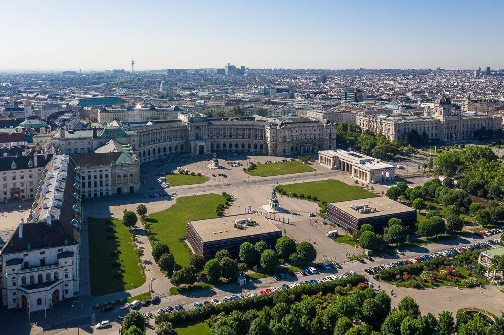 Wien von oben Heldenplatz
