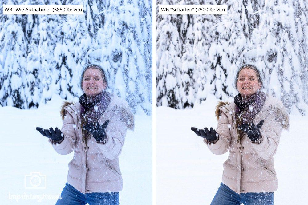 fotografieren im Schnee Weißabgleich